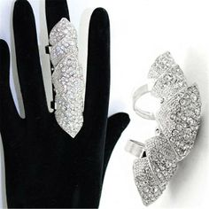Silver Tone Rhinestone Full Finger Ring Armor Knuckle Ring Pointed Stacked Two Ring $24.99