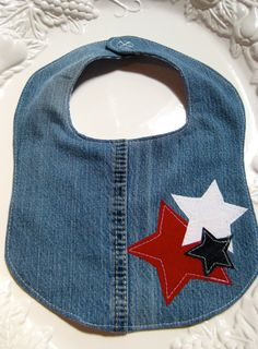 Upcycled Jeans  Patriotic Baby Bib by SewSewBeans