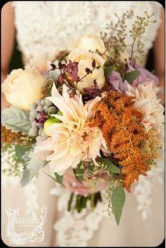 Copperhead amaranthus, cafe au lait dahlias, dusty miller, roses in a bridal bouquet, LynnVale Studios