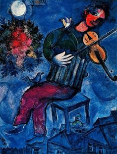 """Marc Chagall (1887-1985) – The Blue Violinist, 1947 (Oil on canvas) – Chagall incorporated a number of 20th century modern art movements into his work to give us a portrayal from multiple angles resulting in a personal symbolic synthesis that might best be described as """"psychological cubism""""… A reoccurring element in his work is music and musicians. Chagall felt them to be an important part of the tapestry of his culture. (Németh György)"""