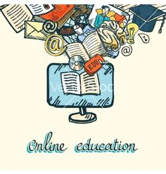 Online education icon set vector by macrovector on VectorStock®