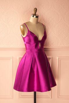 Joniece - Fuschia scalloped neckline party dress