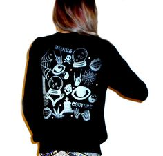 Black V-Neck MAGIC YARD SALE Cardigan with Metallic Silver Print -- Available in sizes Extra Small, Small, Medium, Large, Extra Large