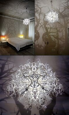 Creepy Chandelier Lamp Turns Your Room Into a Shadowy Forest - TechEBlog  I wish you could buy this, I love the shadow forms.