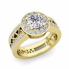 Customized  Roman Numeral Halo Engagement Ring with Diamonds
