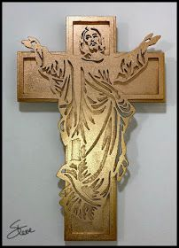 Woodworking Patterns Golden Jesus and Cross Scroll Saw Pattern. Wooden Cross Crafts, Wooden Crosses, Wall Crosses, Wood Crafts, Wood Craft Patterns, Cross Patterns, Scroll Saw Patterns, Woodworking Inspiration, Woodworking Patterns