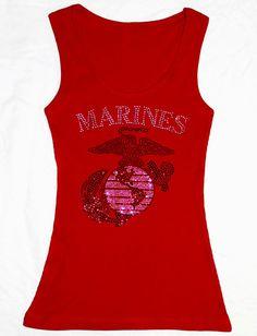 f4acaad4bc5 Marines tank top red rhinestone USMC wife girlfriend  20 etsy