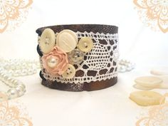 Leather and lace cuff bracelet by ~julishland on deviantART