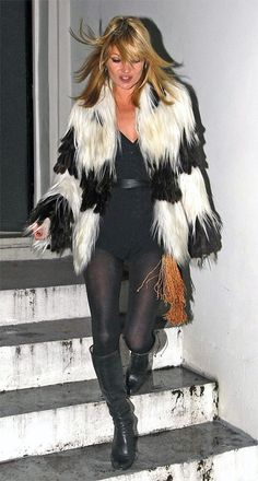 Kate Moss in fendi fur jacket