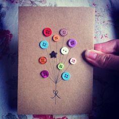 cool-craft-card-with-button-decorate-diy - Basteln mit Knöpfen - 26 super kreative Ideen Source by b Handmade Birthday Cards, Diy Birthday, Happy Birthday, Homemade Birthday, Birthday Wishes, Handmade Greetings, Greeting Cards Handmade, Tarjetas Diy, Button Cards