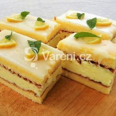 Citronové řezy recept - Vareni.cz Cheesecake, Pudding, Sweets, Baking, Recipes, Pastries, Gardening, Lemon, Sweet Pastries