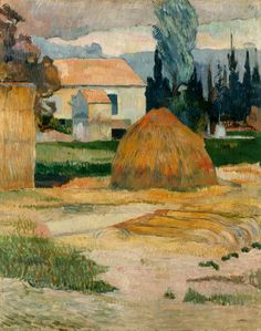 Landscape near Arles by Paul Gauguin in oil on canvas, done in Now in Indianapolis Museum of Art. Find a fine art print of this Paul Gauguin painting. Paul Cezanne, Henri Matisse, Vincent Van Gogh, National Gallery Of Art, Impressionist Artists, Art Plastique, Famous Artists, Art Museum, Landscape Paintings