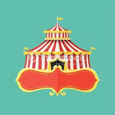 Flat design vector illustration concept of Classical Circus tent with banner for text,Vector illustration
