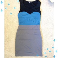 COLOR BLOCK DRESS  Perfect little evening dress color blocked black, gray, and blue. Sleeveless, and zips up side. Size small. Has a small hole (pictured) right on seam. An easy fix if you sew! Small pull in thread (pictured). Has a a little stretch to it. 97% polyester 3% spandex. Twenty One Dresses