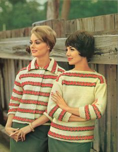 Fiesta Twin Set • 1960s Pullover Cardigan Sweater Patterns • 60s Vintage Ribbed Color Knitting Jumper Pattern • Retro Knit PDF by TheStarShop on Etsy