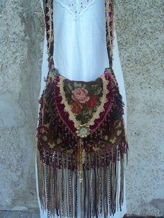 Handmade Cross Body Victorian Fringe Bag Vintage Needlepoint Gypsy Boho tmyers #Handmade #MessengerCrossBody