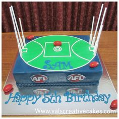 cake for an AFL lover 10th Birthday Cakes For Boys, 10 Birthday Cake, Leo Birthday, Football Cake Design, Football Cakes, Cold Cake, Ricotta Cake, Savoury Cake, Party Cakes