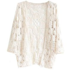 Sheinside Women's Apricot Long Sleeve Lace Cardigan Blouse (One Size) ($17) ❤ liked on Polyvore featuring tops, cardigans, outerwear, jackets, long sleeve tops, lacy white top, white lace top, white top and long sleeve lace top