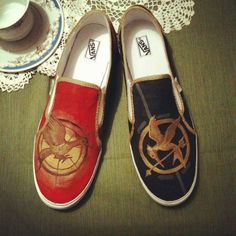 The Hunger Games HandPainted Shoes by ChicRobot on Etsy, $100.00