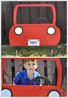 DIY Car Photo Booth | Vicky Barone | Kids race car birthday party ideas