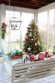 Leave a fully decorated Christmas tree on a screened in back porch for a classic display you can appreciate from inside and out. See more at Hymns & Verses »    - HouseBeautiful.com