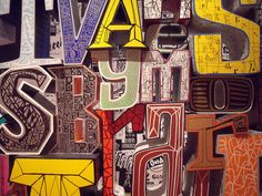 Hand-drawn type translated to sculpture on exhibit.