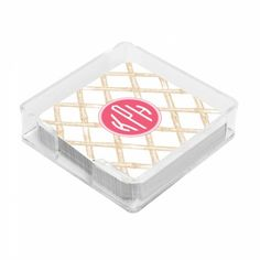 THE WELL APPOINTED HOUSE - Luxury Home Decor- Beige Bamboo Monogrammed Corkboard Coasters with Small Lucite Holder - Set of Four