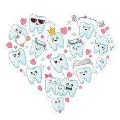 Set Of Kawaii Healthy Teeth With Different Emoji, Heart Shape