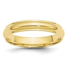 4MM Half Round With Edge Plain Wedding Band In 10K Yellow Gold Gemologica.com offers a large selection of wedding bands in 10K and 14K yellow and white gold for men and women. We have styles including comfort fit, half round edges, flat edges, flat comfort fit, flat step down edge, half round with milgrain, plain, classic, antique style and bevel edge. Our complete collection of gold wedding rings jewelry: www.gemologica.com/mens-gold-wedding-bands-c-28_46_316_320.html