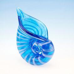 "Blue/White Standing Nautilis Shell 5 ½"" Wide x 8"" Tall"