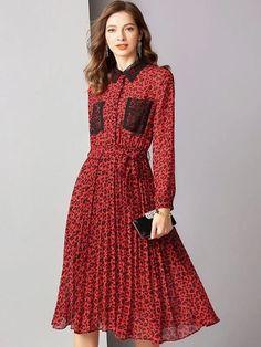Fashion Leopard Lace Turn Down Collar Long Sleeve A-Line Dress