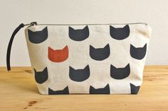Midnight cats copper pouch - screen printed and handmade. via Etsy.