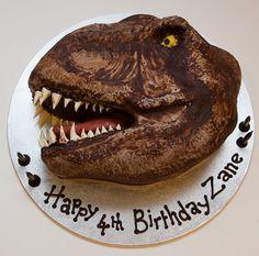 Dinosaur Head Interracial Species Chocolate Cake With Chocolate Ganache And Fondant