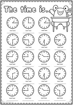 Telling Time Worksheets Kindergarten Telling Time Practice Page Math Addition Worksheets, First Grade Math Worksheets, English Worksheets For Kids, English Lessons For Kids, Kindergarten Worksheets, Multiplication Worksheets, Clock Worksheets, Money Worksheets, Math For Kids