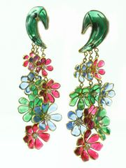 1950's Gripoix Poured Glass Multi Color Flower Earrings by House of Lavande