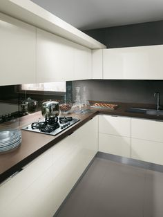 """The """"Mirage"""" partition viewed from the kitchen's working and service zone 