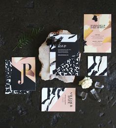 Black, gold + pink wedding invitation