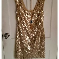 Guess Gold/Champagne sequin Dress This is a Wow! Dress ready to rock the NYE scene! Fitted but not too tight. Ring in the New Year in fashion this year in this flashy sequin Dress by Guess. Worn once. Like new condition.   Fits true to size. Hits mid thigh. Guess Dresses Mini