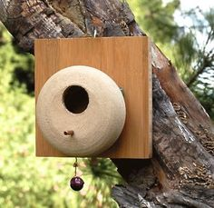For the birds~ Stoneware & Bamboo Birdhouse Weather-proof for roost & nesting