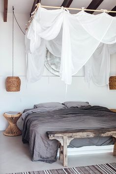 Modern rustic bedroom with bed drapes, linen bedding, vintage furniture and woven pendant lamp. Villa Son Font via Our Food Stories Fun links and inspiration for a happy weekend Diy Home Decor Rustic, Farmhouse Bedroom Decor, Rustic Farmhouse, Rustic Cafe, Rustic Logo, Rustic Restaurant, Bedroom Rustic, Kitchen Rustic, Rustic Nursery