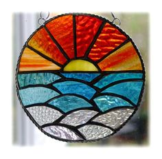 Sunset Ocean Waves Stained Glass Suncatcher £22.50
