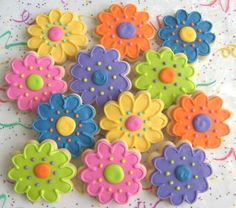 colorful flower cookies