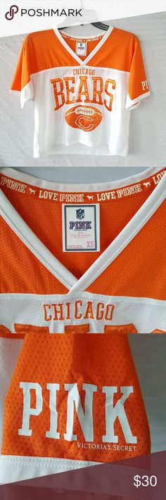 Victoria's Secret PINK Cropped Bears Jersey Victoria's Secret PINK cropped NFL Chicago Bears Jersey, orange, white, mesh, in excellent condition.  Make offers on items and bundles! PINK Victoria's Secret Tops Crop Tops