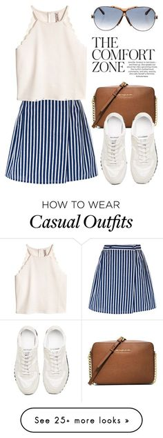"""Casually Perfect in a Striped Skirt 3782"" by boxthoughts on Polyvore featuring Maison Kitsuné, MICHAEL Michael Kors and Givenchy"