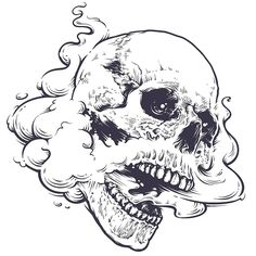 Skull with steam coming out from mouth and nose. Line art. Kunst Tattoos, Skull Tattoos, Body Art Tattoos, Tattoo Drawings, Art Drawings, Tattoo Sketches, Tattoo Ink, Art Du Croquis, Photographie Portrait Inspiration