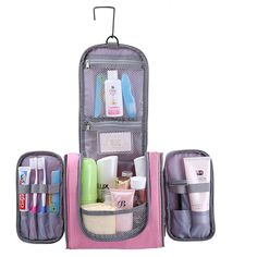 BAGSMALL Large Capacity Travel Kit Toiletry Bag With Hanger Hook Polyster Cosmetic Bag For Makeup Organization Carryon Case revolutionhighlighter Travel Toiletries, Travel Cosmetic Bags, Cosmetic Case, Makeup Bag Organization, Travel Organization, Travel Kits, Travel Bag, Piercings For Girls, Wash Bags