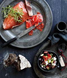 Greek cured ocean trout with village salad - Gourmet Traveller