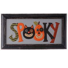 """RAZ Wooden Framed Spooky Wall Hanging  Made of Wood Measures 10"""" X 19.5""""   RAZ Exclusive  RAZ 2015 Natural Halloween Collection"""
