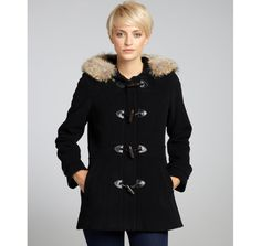 Marc New York black wool-cashmere blend 'Pristine' fur trim toggle coat