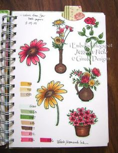 iEmbellish: Pink 'McKenna' Star Book - she stamps the image, colors it, then notes the colors next to it. This is a reference book! Copic Pens, Copic Art, Copics, Card Making Tips, Card Making Techniques, Making Ideas, Copic Markers Tutorial, Spectrum Noir Markers, Coloring Books